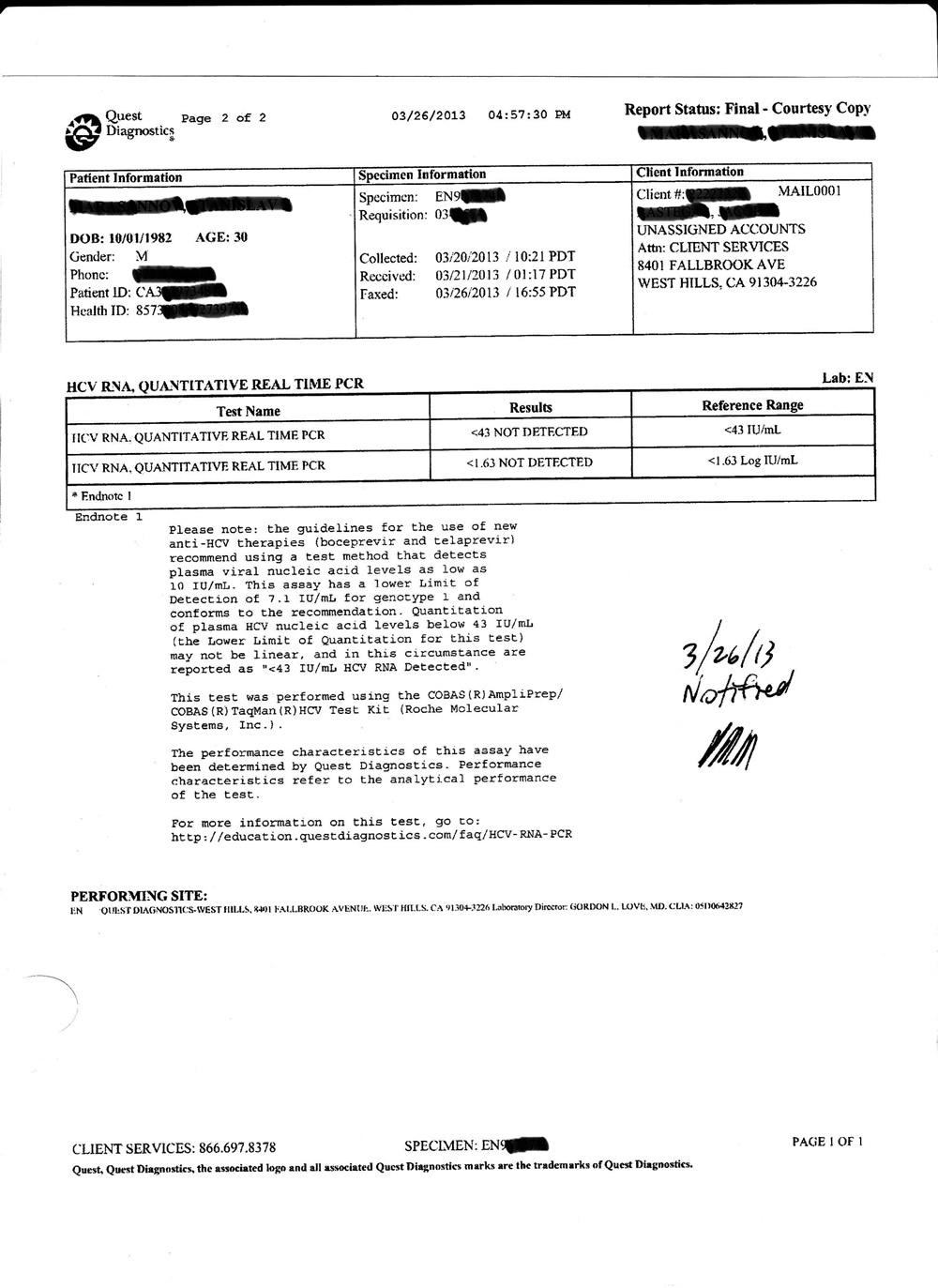 Hepatitis C undetected blood work page 1
